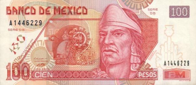 Купюра номиналом 100 мексиканских песо, лицевая сторона