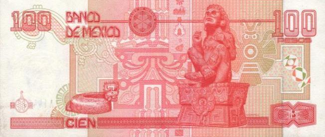 Купюра номиналом 100 мексиканских песо, обратная сторона