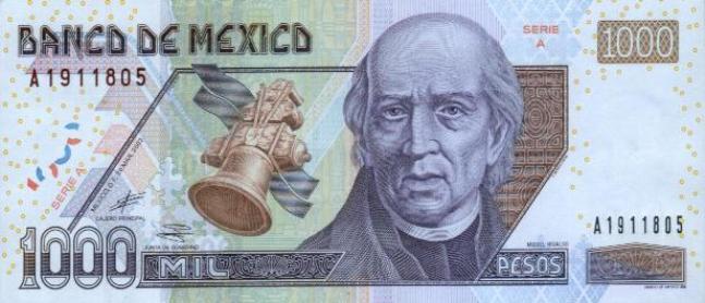 Купюра номиналом 1000 мексиканских песо, лицевая сторона