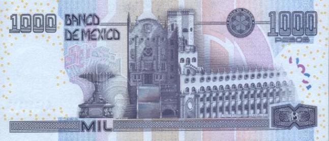 Купюра номиналом 1000 мексиканских песо, обратная сторона