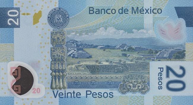 Купюра номиналом 20 мексиканских песо, обратная сторона