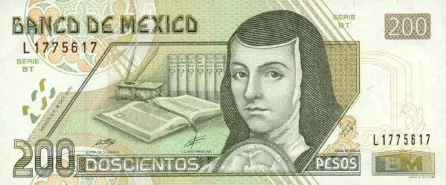 Купюра номиналом 200 мексиканских песо, лицевая сторона