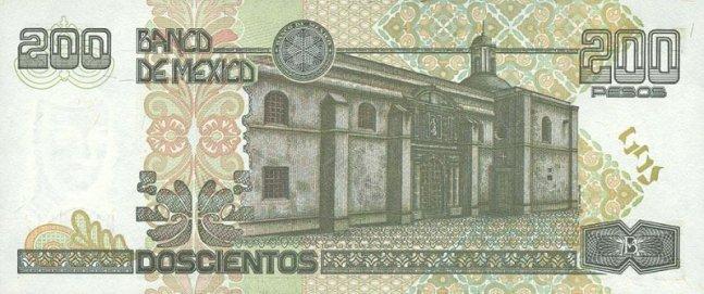 Купюра номиналом 200 мексиканских песо, обратная сторона