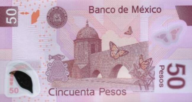 Купюра номиналом 50 мексиканских песо, обратная сторона