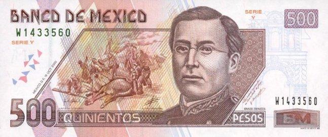 Купюра номиналом 500 мексиканских песо, лицевая сторона