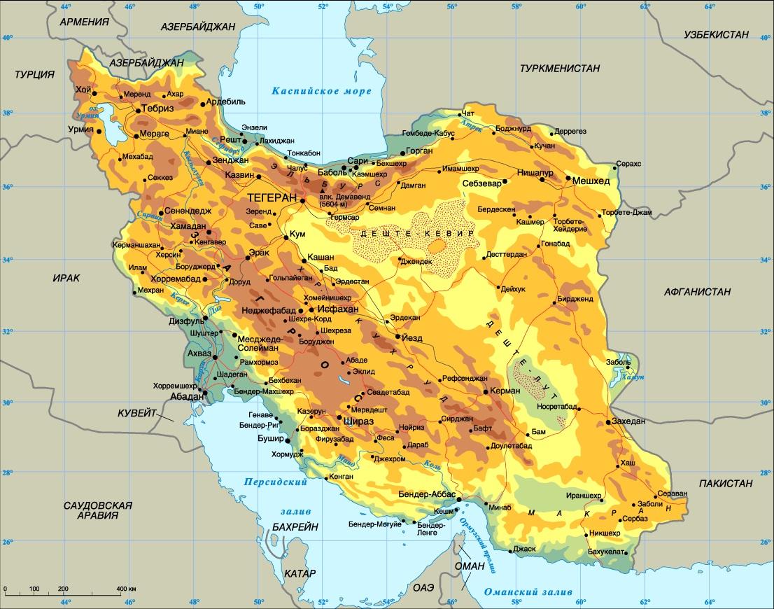 Karta Irana Na Russkom Yazyke Podrobnaya Karta S Gorodami I Regionami