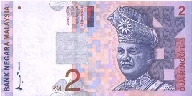 Купюра номиналом в 2 малазийских ринггита, лецевая сторона