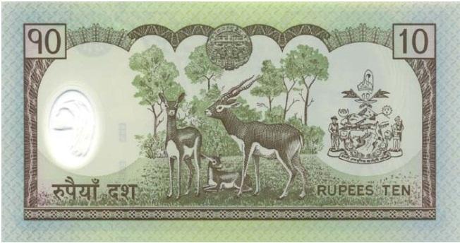 Купюра номиналом 10 непальских рупий, обратная сторона
