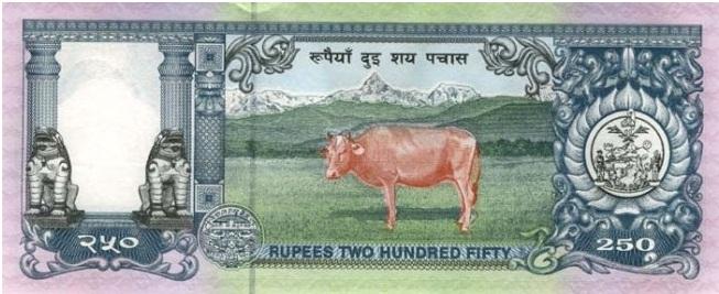 Купюра номиналом в 250 непальских рупий, обратная сторона
