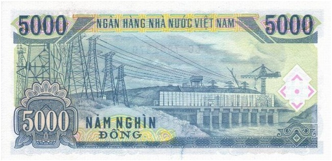 Купюра номиналом в 5000 донгов, обратная сторона