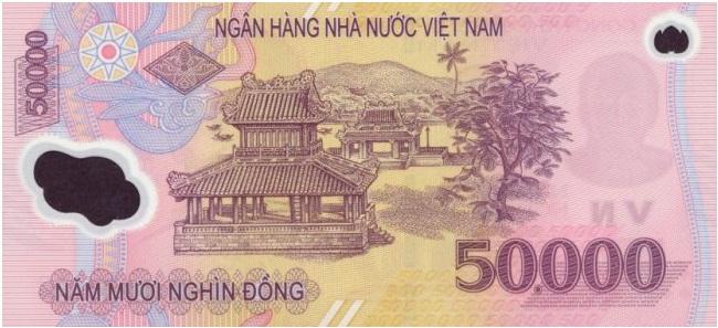 Купюра номиналом в 50000 донгов, обратная сторона
