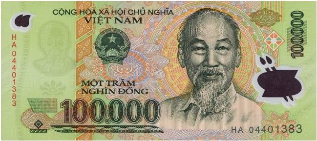 Купюра номиналом в 100000 донгов, лицевая сторона