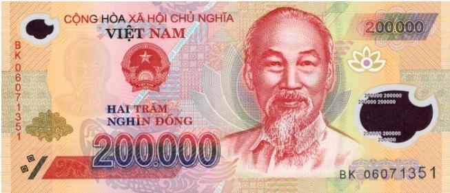 Купюра номиналом в 200000 донгов, лицевая сторона