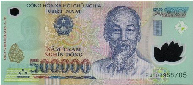 Купюра номиналом в 500000 донгов, лицевая сторона