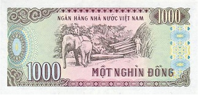Купюра номиналом в 1000 донгов, обратная сторона