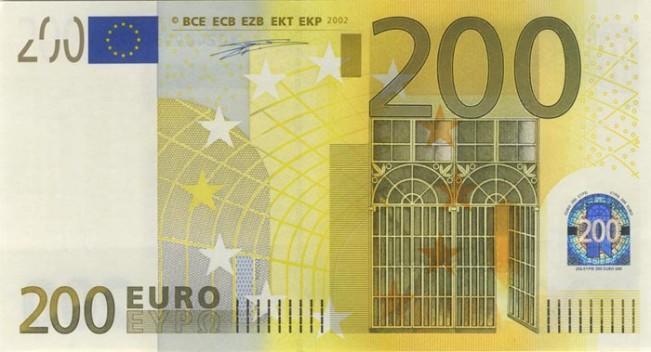 Купюра номиналом 200 евро, лицевая сторона