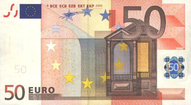 Купюра номиналом 50 евро, лицевая сторона