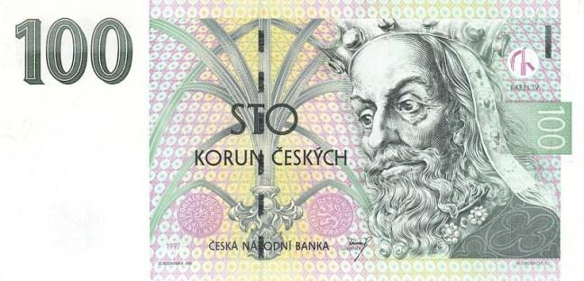 Купюра номиналом 100 чешских крон, лицевая сторона