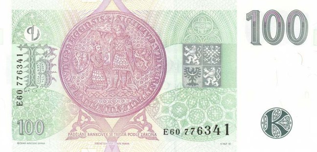 Купюра номиналом 100 чешских крон, обратная сторона