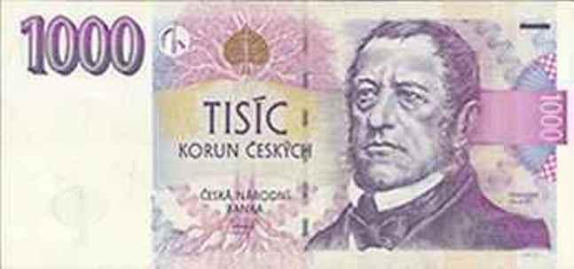 Купюра номиналом 1000 чешских крон, лицевая сторона
