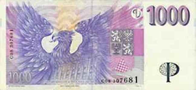 Купюра номиналом 1000 чешских крон, обратная сторона