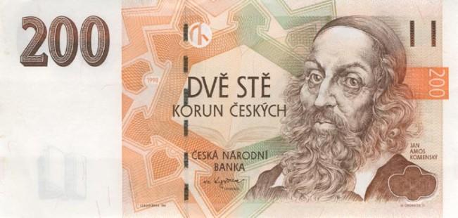 Купюра номиналом 200 чешских крон, лицевая сторона