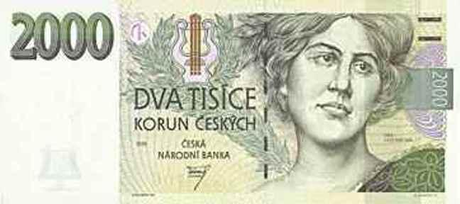 Купюра номиналом 2000 чешских крон, лицевая сторона