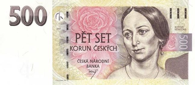 Купюра номиналом 500 чешских крон, лицевая сторона