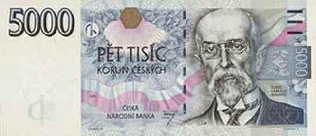 Купюра номиналом 5000 чешских крон, лицевая сторона