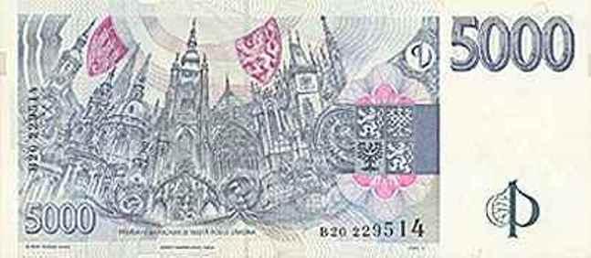 Купюра номиналом 5000 чешских крон, обратная сторона