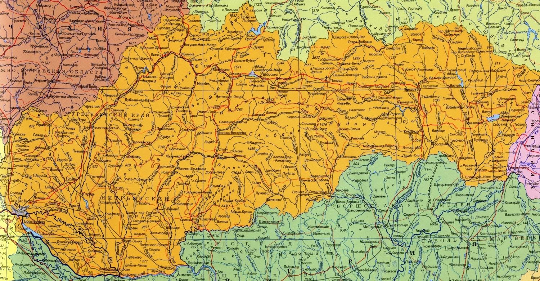 Карта Словакии на русском языке. Подробная карта с городами и ...